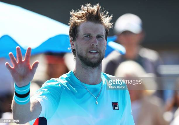 Andreas Seppi of Italy reacts in his first round match against Corentin Moutet of France on day one of the 2018 Australian Open at Melbourne Park on...