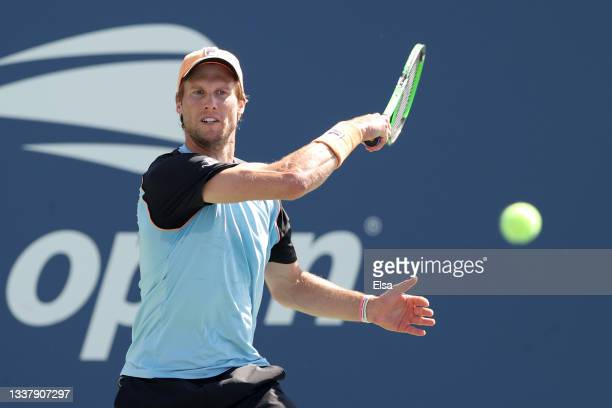 Andreas Seppi of Italy returns the ball against Hubert Hurkacz of Poland during his Men's Singles second round match on Day Four of the 2021 US Open...