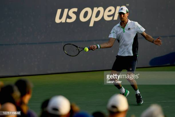 Andreas Seppi of Italy returns the ball during his men's singles second round match against Denis Shapovalov of Canada on Day Three of the 2018 US...