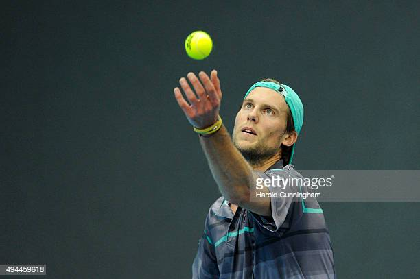 Andreas Seppi of Italy serves during the second day of the Swiss Indoors ATP 500 tennis tournament against David Goffin of Belgium at St Jakobshalle...