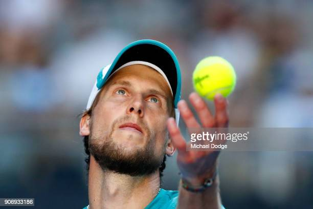 Andreas Seppi of Italy serves in his third round match against Ivo Karlovic of Croatia on day five of the 2018 Australian Open at Melbourne Park on...