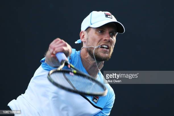 Andreas Seppi ot Italy serves in his first round match against Steve Johnson of the United States during day one of the 2019 Australian Open at...