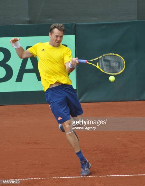 Andreas Siljestrom and Johan Brunstrom of Sweden are in action against Turkey's Cem Ilkel and Altug Celikbilek during 2017 Davis Cup Europe/Africa...