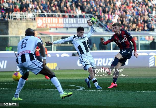Andreas Skov Olsen kicks towards the goal during the Serie A match between Bologna FC and Udinese Calcio at Stadio Renato Dall'Ara on February 22...