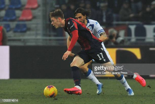 Andreas Skov Olsen of Bologna FC in actiion during the Serie A match between Bologna FC and Brescia Calcio at Stadio Renato Dall'Ara on February 01...