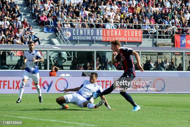 Andreas Skov Olsen of Bologna FC in action during the Serie A match between Bologna FC and UC Sampdoria at Stadio Renato Dall'Ara on October 27 2019...