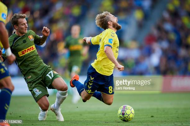 Andreas Skovgaard of FC Nordsjalland and Kasper Fisker of Brondby IF compete for the ball during the Danish Superliga match between Brondby IF and FC...