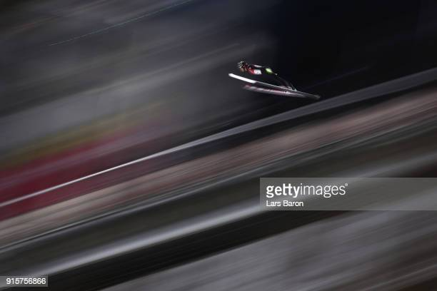 Andreas Stjernen of Norway competes during Men's Normal Hill Individual Qualification at Alpensia Ski Jumping Centre on February 8 2018 in...