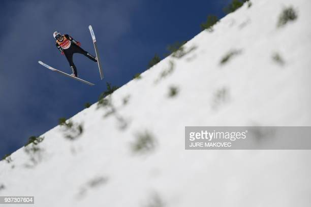 Andreas Stjernen of Norway competes during the FIS Ski Jumping World Cup Men's Flying Hill Team competition in Planica, Slovenia on March 24, 2018. /...