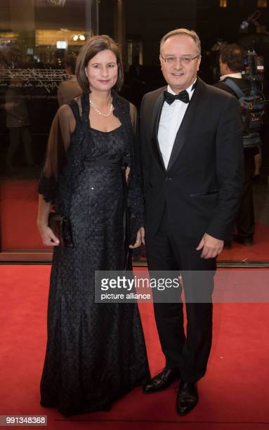 Andreas Stoch head of the SPD's BadenWürttemberg Landtag fraction and his wife Christine arriving to the State Press Ball in Stuttgart Germany 10...