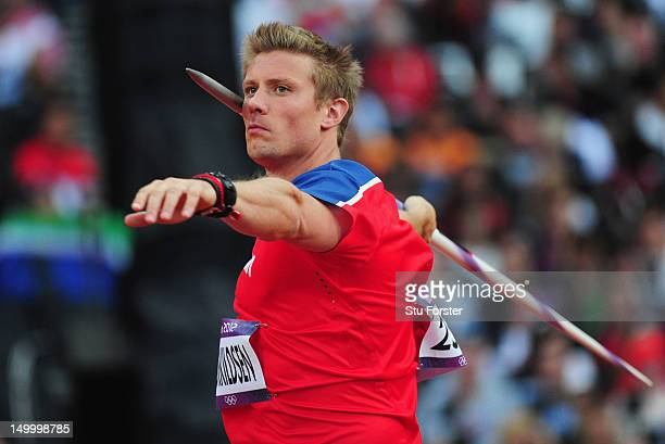 Andreas Thorkildsen of Norway competes in the Men's Javelin Throw Qualifications on Day 12 of the London 2012 Olympic Games at Olympic Stadium on...