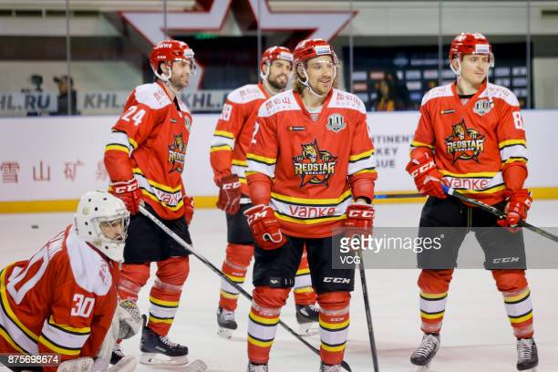 Andreas Thuresso and Kyle Chipchura of HC Kunlun Red Star warm up prior to the 2017/18 Kontinental Hockey League Regular Season match between HC...