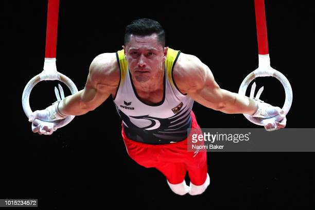 Andreas Toba of Germany competes in Rings in the Men's Team Gymnastics Final during the Gymnastics on Day Ten of the European Championships Glasgow...