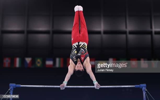 Andreas Toba of Team Germany in a practice session during Men's Podium Training ahead of the Tokyo 2020 Olympic Games at Ariake Gymnastics Centre on...