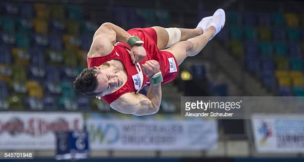Andreas Toba of TK Hannover competes during men's floor competition during the german gymnastics 2nd olympic qualification event on July 9 2016 in...