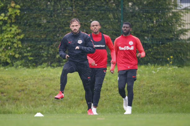 Andreas Ulmer Antoine Bernede and Jerome Onguene of Salzburg during the first RB Salzburg team trainings session at Trainingszentrum Taxham on May 15...
