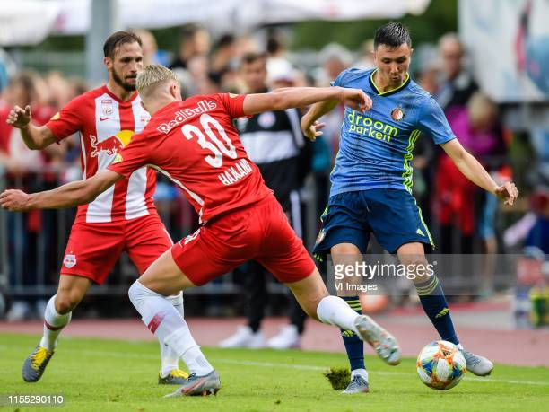 Andreas Ulmer of Red Bull Salzburg, Erling Haaland of Red Bull Salzburg, Steven Berghuis of Feyenoord during the Pre-season Friendly match between FC...