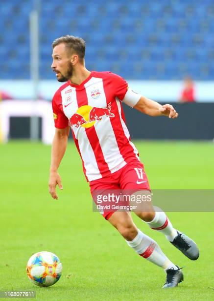 Andreas Ulmer of Salzburg controls the ball during the tipico Bundesliga match between FC Red Bull Salzburg and TSV Prolactal Hartberg at Red Bull...