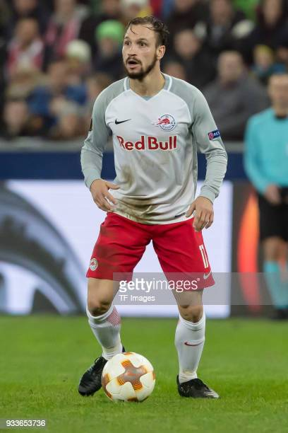 Andreas Ulmer of Salzburg controls the ball during UEFA Europa League Round of 16 second leg match between FC Red Bull Salzburg and Borussia Dortmund...