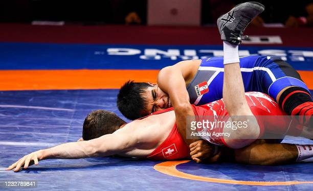 Andreas VETSCH of Switzerland in action against Nilton Gonzalo Marcos SOTO GARCIA of Peru during the 67kg Men's Greco-Roman Repechage at the World...