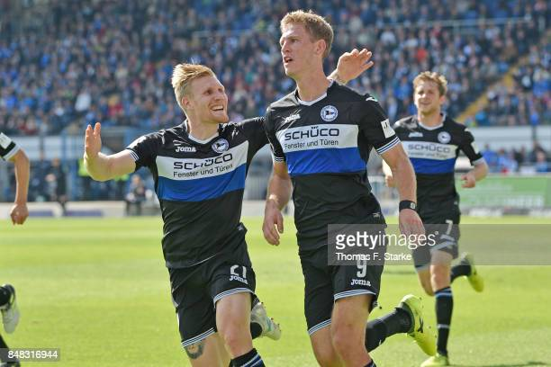 Andreas Voglsammer and Fabian Klos of Bielefeld celebratew their teams second goal during the Second Bundesliga match between SV Darmstadt 98 and DSC...