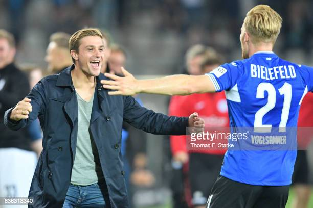 Andreas Voglsammer and Tom Schuetz of Bielefeld celebrates his first goal during the Second Bundesliga match between DSC Arminia Bielefeld and VfL...