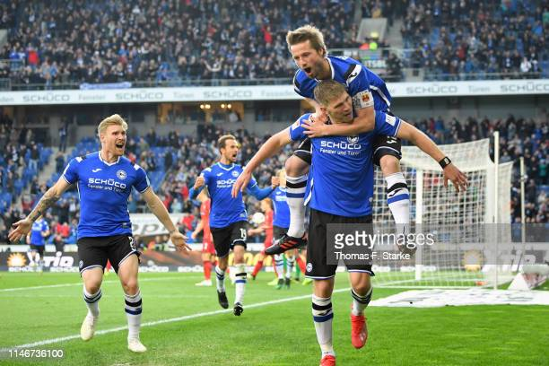Andreas Voglsammer Manuel Prietl Julian Boerner and Fabian Klos of Bielefeld celebrate during the Second Bundesliga match between DSC Arminia...