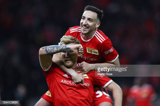 Andreas Voglsammer of 1.FC Union Berlin celebrates with team mate Robert Andrich after scoring their sides first goal during the UEFA Europa...