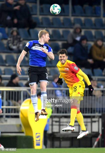 Andreas Voglsammer of Arminia Bielefeld and Christopher Trimmel of 1 FC Union Berlin during the Second Bundesliga match between DSC Arminia Bielefeld...