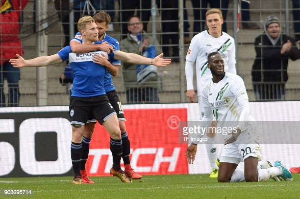Andreas Voglsammer of Bielefeld celebrates after scoring his team`s second goal during the HHotelscom Wintercup match between Arminia Bielefeld and...