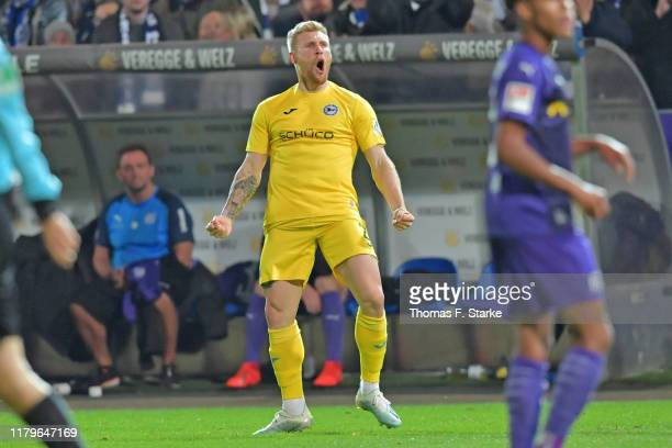 Andreas Voglsammer of Bielefeld celebrates during the Second Bundesliga match between VfL Osnabrück and DSC Arminia Bielefeld at Stadion an der...