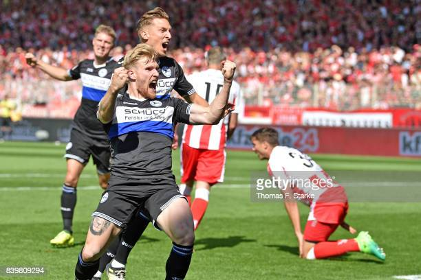 Andreas Voglsammer of Bielefeld celebrates his teams first goal during the Second Bundesliga match between 1 FC Union Berlin and DSC Arminia...