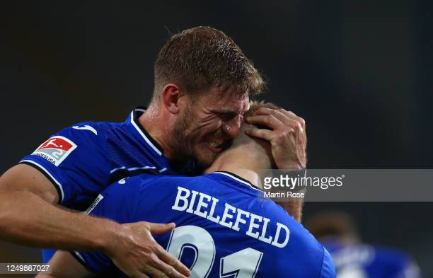 Andreas Voglsammer of Bielefeld celebrates scoring his team's second goal with Fabian Klos during the Second Bundesliga match between DSC Arminia...