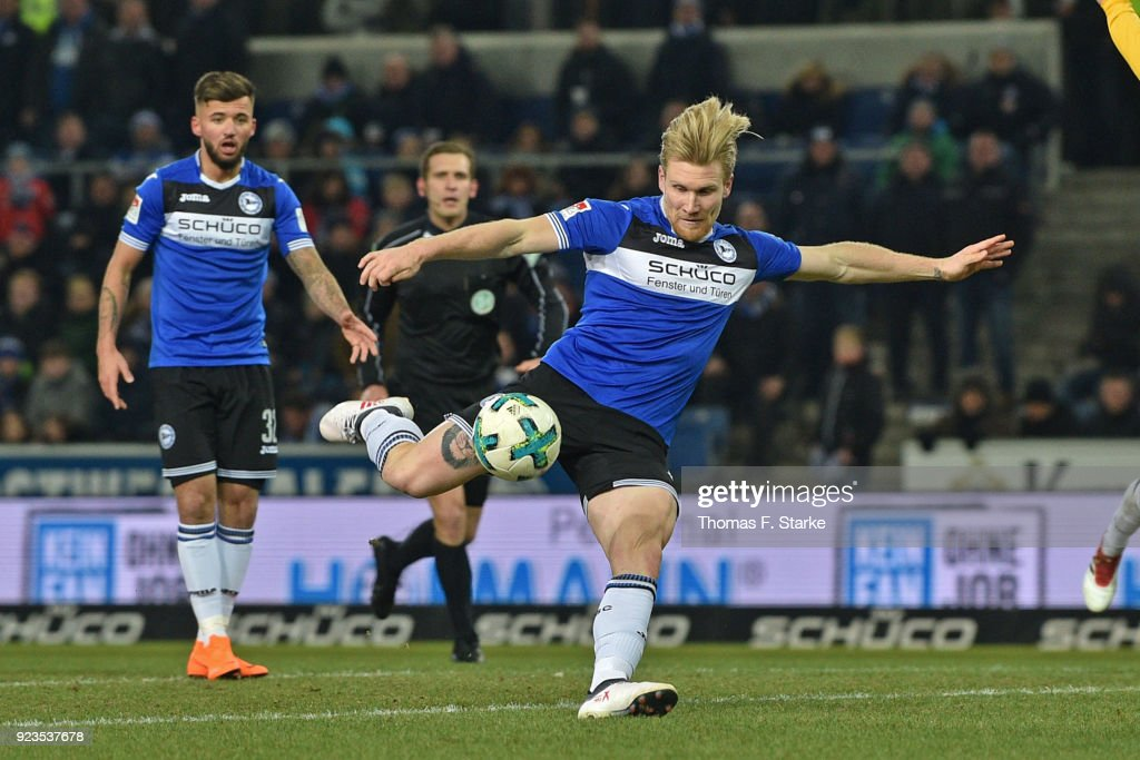 Andreas Voglsammer (FRONT) of Bielefeld kicks the ball during the Second Bundesliga match between DSC Arminia Bielefeld and SG Dynamo Dresden at Schueco Arena on February 23, 2018 in Bielefeld, Germany.