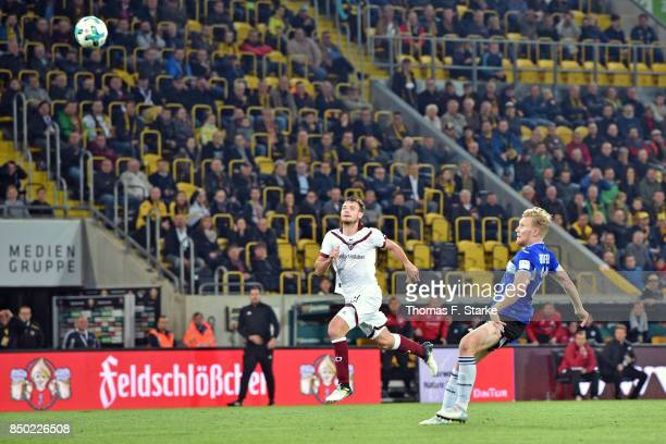 Andreas Voglsammer of Bielefeld scores his teams first goal during the Second Bundesliga match between SG Dynamo Dresden and DSC Arminia Bielefeld at...