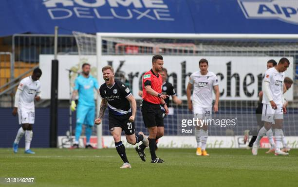Andreas Voglsammer of DSC Arminia Bielefeld celebrates after scoring their side's first goal from a free kick during the Bundesliga match between DSC...