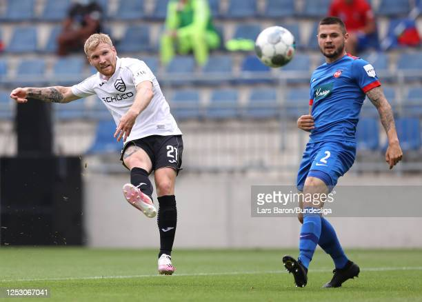 Andreas Voglsammer of DSC Arminia Bielefeld scores his sides second goal during the Second Bundesliga match between DSC Arminia Bielefeld and 1. FC...