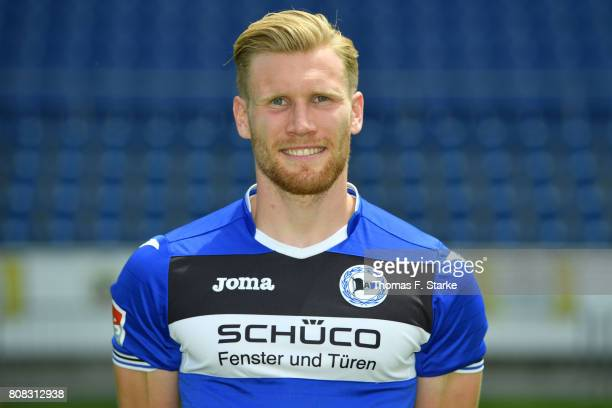 Andreas Voglsammer poses during the Second Bundesliga team presentation of Arminia Bielefeld at Schueco Arena on July 4 2017 in Bielefeld Germany