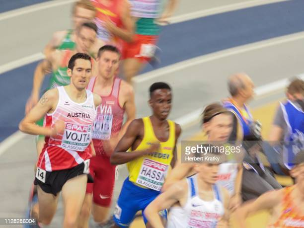 Andreas Vojta of Austria competes in the qualification heats of the men's 3000m event on March 1 2019 in Glasgow United Kingdom