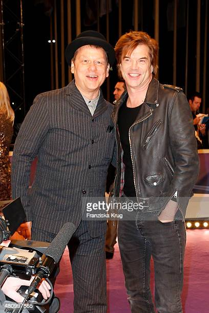 Andreas von Holst and singer Campino of the band Die Toten Hosen pose on the red carpet prior the Echo award 2014 on March 27 2014 in Berlin Germany