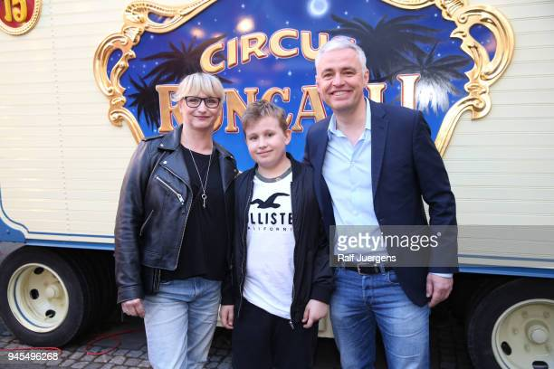 Andreas von Thien his wife Alexandra and his son Leonard attend the premiere of the Circus Roncalli show 'Storyteller' on April 12 2018 in Cologne...