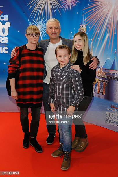 Andreas von Thien with his wife Alexandra and their childs Leonard and Anouschka attend the premiere of 'Disney on Ice 100 Jahre voller Zauber' at...