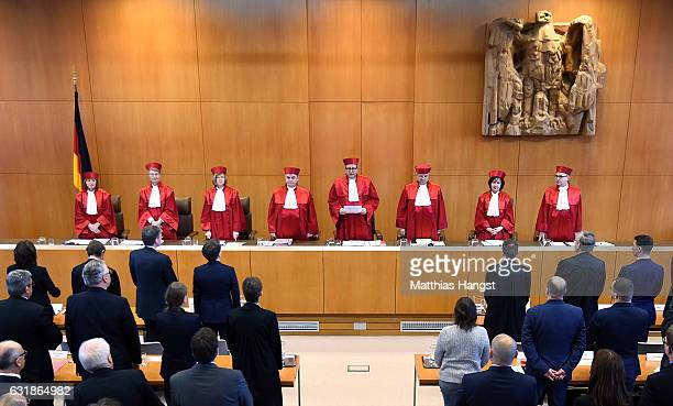 Andreas Vosskuhle , Chairman of the Second Senate of the Federal Constitutional Court , issues the the court's verdict not to ban the far-right NPD...
