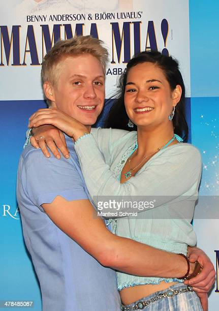 Andreas Wanasek and Madeleine Lauw pose for a photograph during the 'Mama Mia' musical rehearsal at Raimund Theater on March 13 2014 in Vienna Austria