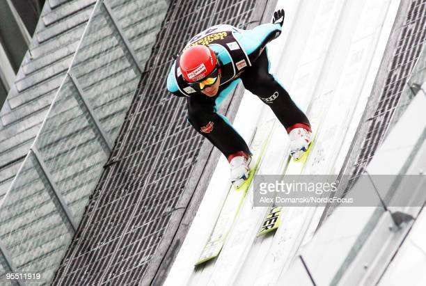 Andreas Wank of Germany competes during the FIS Ski Jumping World Cup event of the 58th Four Hills Ski Jumping Tournament on December 31, 2009 in...