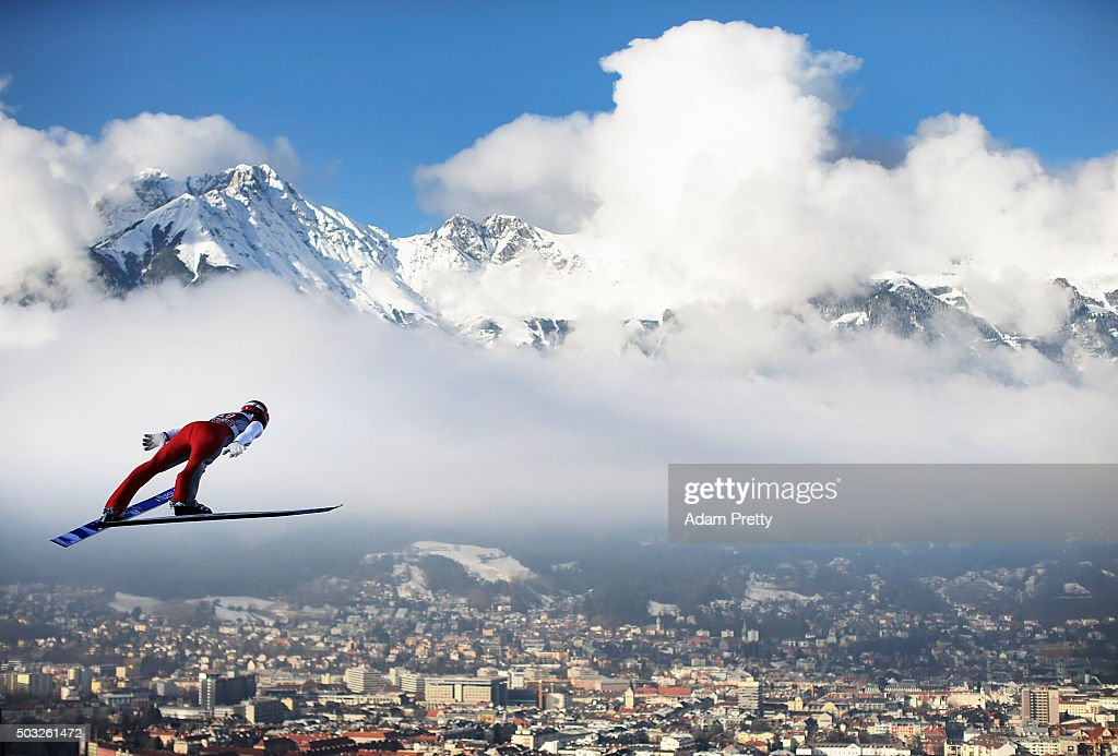 Andreas Wank of Germany soars through the air during his first competition jump on day 2 of the Innsbruck 64th Four Hills Tournament on January 3, 2016 in Innsbruck, Austria.