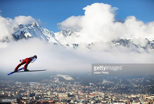 Andreas Wank of Germany soars through the air during his first competition jump on day 2 of the Innsbruck 64th Four Hills Tournament on January 3...