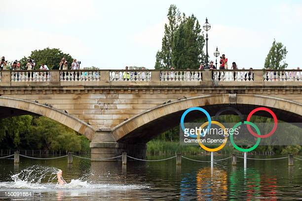 Andreas Waschburger of Germany competes in the Men's Marathon 10km swim on Day 14 of the London 2012 Olympic Games at Hyde Park on August 10 2012 in...