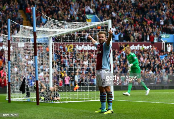 Andreas Weimann of Aston Villa celebrates his goal during the Barclays Premier League match between Aston Villa and Manchester City at Villa Park on...