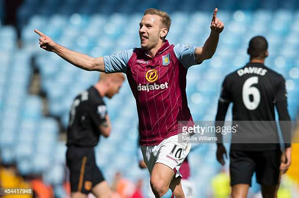 Andreas Weimann of Aston Villa celebrates his goal for Aston Villa during the Barclays Premier League match between Aston Villa and Hull City at...
